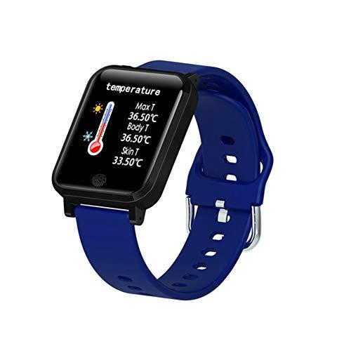 Fitness-Tracker, wasserdicht, verschiedene Sport-Modi, Kalorienzähler, Schrittzähler, Locus-Tracking, Karte, Körpertemperatur, Smart Benachrichtigungen L blau