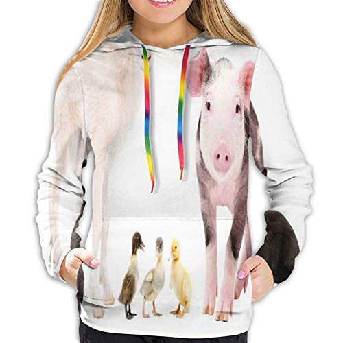 Women's Fashion Hoodies 3D Print,Studio Shot of Cute Baby Domestic Creatures Ducks Pig Goat and Bunnies,Classic Pullover Hooded Sweatshirt,Small