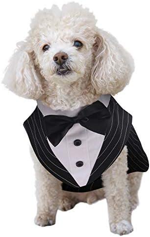 ASENKU Dog Tuxedo Suit Costume Pet Wedding Birthday Party Formal Shirt with Bandana Set Bow product image