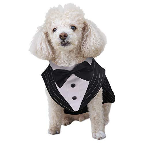 ASENKU Dog Tuxedo Suit Costume, Pet Wedding Birthday Party Formal Shirt with Bandana Set Bow Tie Collar for Small Medium, Large Golden Retriever Samo Bulldogs, Black, S