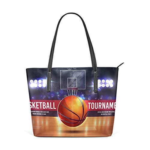 Banderines de dibujos animados con torneo de baloncesto de moda de cuero bolso de hombro bolsos para mujeres niñas