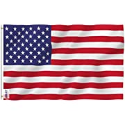 Anley Fly Breeze 3x5 Foot American US Flag - Vivid Color and UV Fade Resistant - Canvas Header and Double Stitched - USA Flags Polyester with Brass Grommets 3 X 5 Ft