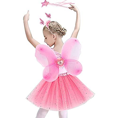 Costume da Fata per Bambini Ragazze, Set Bambini Principessa delle Farfalla Vestire con Farfalla Ali Gonna Tutu Bacchetta Magica e la Fascia Fata per Halloween Feste a Tema Compleanno Cosplay Ballando