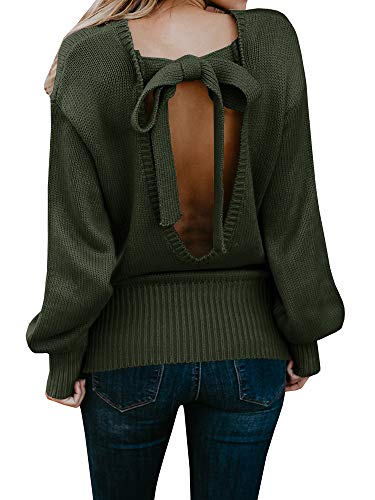 Backless Long Balloon Sleeve Loose Knitted Soft Pullover Jumper Top