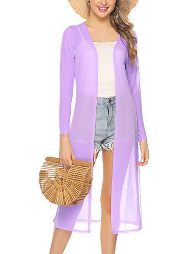 Abollria Women's Long Sleeve Open Front Drape Duster Maxi Long Cardigan Purple