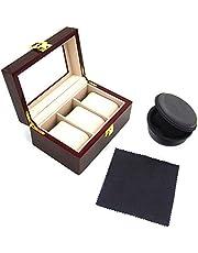 Iriwa 腕時計収納ケース3本用 1本用ケース付き クロス付き 腕時計コレクションケース 時計展示ボックス ウォッチ コレクションケース 耐衝撃 旅行 携帯用 ガラス蓋展示ボックス おしゃれ 持ち運び可能 木製 アルミ製