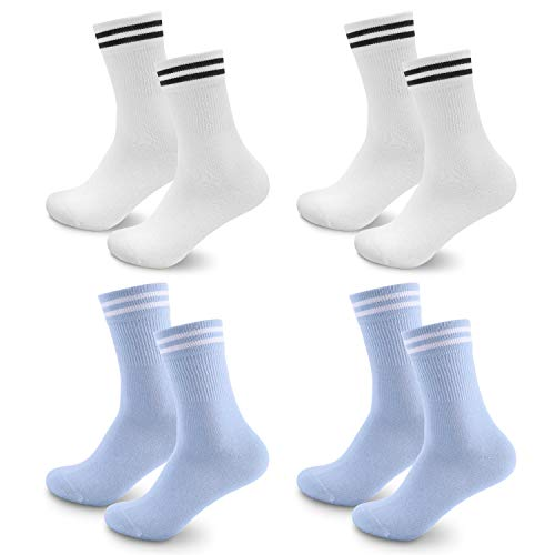 Sneaker Socken Herren Damen, 4 paar Unisex socks Atmungsaktiv Sportsocken Laufsocken Lange Business & Freizeit Baumwollsocken Weiß Hellblau, Ideal für Herbst & Winter 43-46