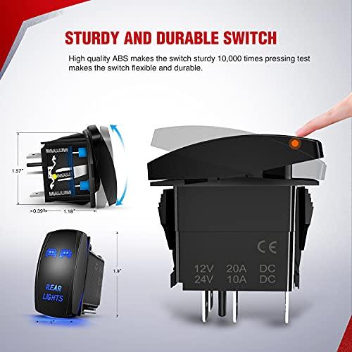 Nilight - 10012W LED Light Bar Wiring Harness Kit REAR LIGHTS 12V 5Pin Rocker Switch Laser On off Waterproof Switch Power Relay Blade Fuse-2 Lead,2 Years Warranty