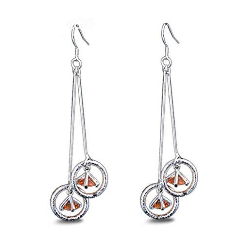 JINGM Boucles d'oreilles Pendantes pour Femmes Champagne Zircon Boucle d'oreille Boucles d'oreilles Bijoux en Argent