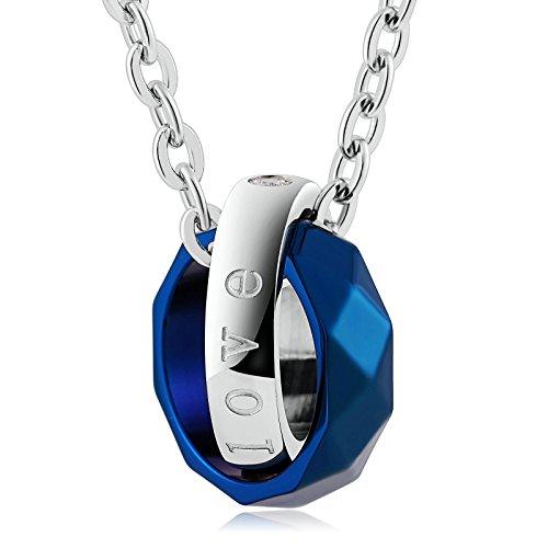 Beydodo Schmuck 1PCS Edelstahl Halskette Silber Herren mit Gravur Forever Love Blau Verriegelungsring Anhänger Kette Silber Freundschaftskette für 1