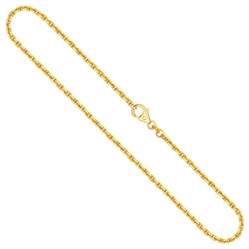 EDELWEISS Cadena para Mujer de Oro Real de 2 mm, сadena Diamante del Anclaje Oro Amarillo 18 k 750, Cadena de Oro con Sello, con сierre de mosquetón, Long. 50 cm, p. 12.8 g