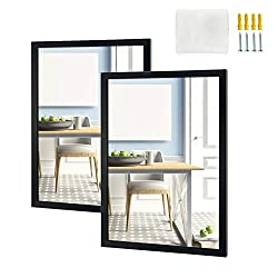 """SIZE: The 16x20 wall mirrors set includes 2 pack 16x20 inch black framed beveled rectangular mirrors, size of the wall mounted mirror is 16""""x20""""x0.7"""" (40.5x50.8x2 cm). QUALITY MADE: Crystal clear glass mirror reflects objects clearly. The back cover ..."""