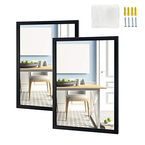 Eono Amazon Brand Espejo Rectangular para Colgar en la Pared del baño, el Dormitorio o el salón, 40,5 × 50.8 cm, Negro (Juego de 2)