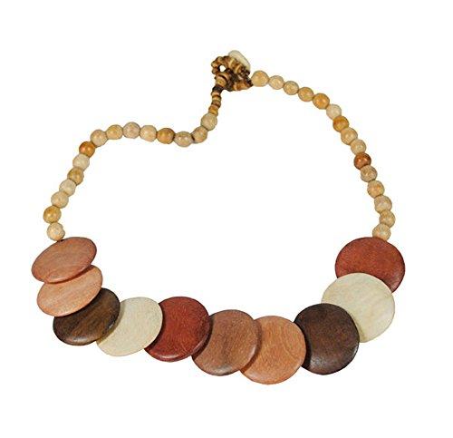 Halskette Elke aus Holz Perlen Kette Farbe Natur Variationen Braun Töne Holzkette kurz Länge der Perlenkette 55cm handgemacht