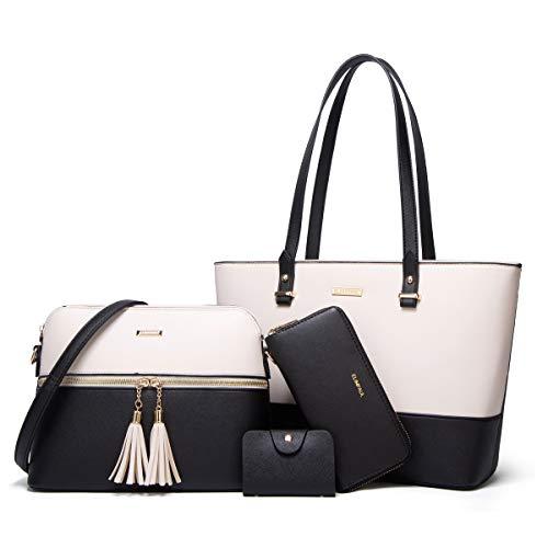 YTL Damen Handtaschen Shopper Groß Schultertasche Geldbörse Kartenhalter Tasche 4-teiliges Set für Büro Schule Einkauf Reise Geschenk (Schwarz3)