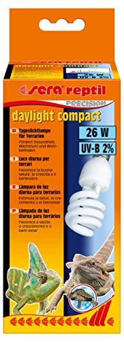 sera reptil daylight compact − Tageslichtlampe 26 W und 2 {90fd4741ead3bbf2b014638b5b5a2248de9ffb7b3a2fca2f8ca7fa4c8846b3bb} UV-B mit E27 Fassung - Tageslicht für Terrarien passend zu sera reptil terra top Aufsatzleuchte