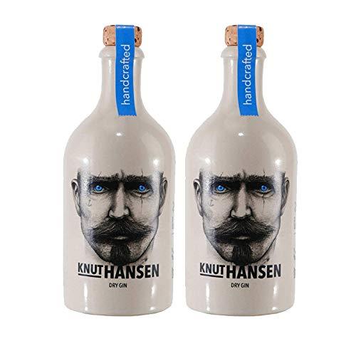 Ginebra Knut Hansen Handcrafted German Dry Gin de 50 cl - Elaborada en Hamburgo - Qantima Group (Pack de 2 botellas)
