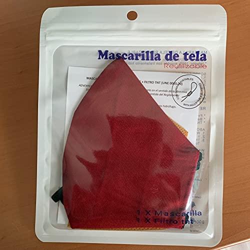 Cussi - Mascarilla de Tela Higiénica Reutilizable Homologada UNE 0065:20 y Certificada BFE 99%, Lavable hasta 20 ciclos-pack 2 mascarillas, estuche, filtros extra (ROJO OSCURO, NEGRO)