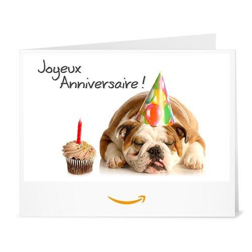Chèque-cadeau Amazon.fr - Imprimer - Anniversaire Bulldog