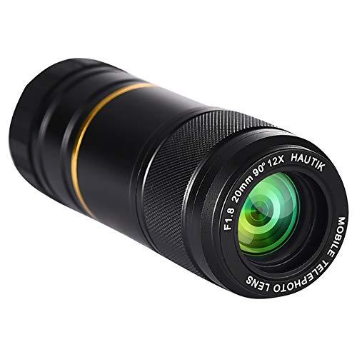 TRQJY Telescoop Camera Lens, Verstelbare 12X Lens Pictures Optisch Glas Geschikt voor Iphone, Sony, Lenovo, Xiaomi, Andere Smartphones