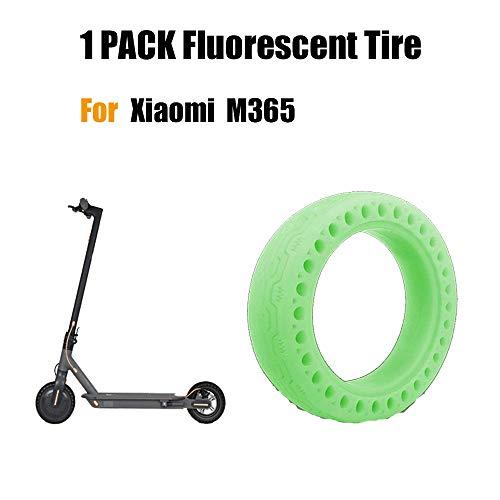 FreeLeben Neumático Fluorescente Scooter Eléctrico, 1 PC Caucho Resistente al Desgaste Antideslizante Llanta de Repuesto de Nido de Abeja Sólido para el Scooter Eléctrico Xiaomi M365 (Verde)