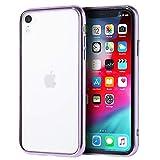 Carrier-City iPhone XR ケース 背面ガラス 背面クリア すり傷防止 アイフォン アイフォン XR カバー サイドメッキカラー (ラベンダー)
