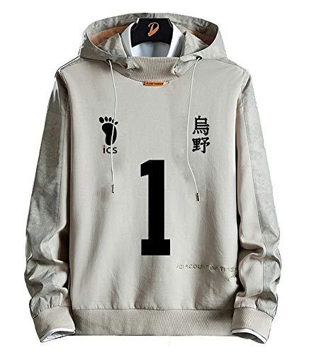 Sudadera de forro polar para hombre y mujer diseo de anime Dnnes Vlies con capucha para disfraz de karasuno para colegio voleibol Sawamura Daichi NO.1 color gris talla M(pecho 101cm)