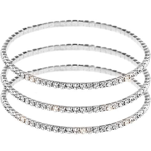 Suyi Crystal Ankle Bracelet for Women Diamond Tennis Stretch Anklets Elastic Foot Chain 3PcsSilver