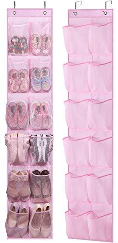 MISSLO Organizador de zapatos para niños para colgar zapatos de bebé con 12 bolsillos de malla para niñas, mujeres, hombres, niños pequeños, 2 paquetes, rosa