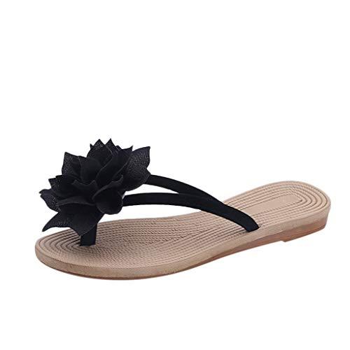 WOCACHI Womens Flip Flops Fashion Summer Roma Flower Flat Anti-Slip Slipper Beach Casual Shoes Under 5 Dollars