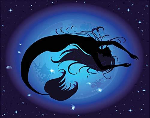 Y·JIANG Pintura por números para niña acuática, sirena, color morado, negro, pintura al óleo acrílica por números, para adultos, niños, decoración de pared, 40,6 x 40,6 cm