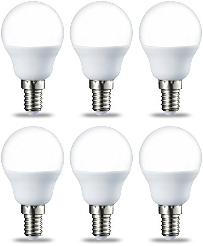 Amazon Basics E14 LED Lampe P45, Tropfenform, 5.5W (ersetzt 40W), warmweiß, 6er-Pack