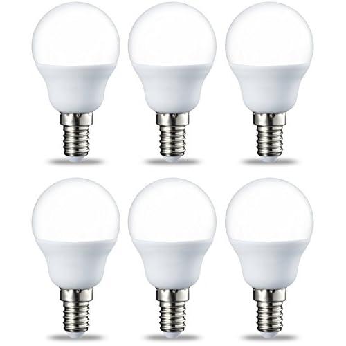 AmazonBasics Lampadina LED E14 a Sfera, P45, 5.5W (equivalenti a 40W), Luce Bianca Calda- Pacco da 6