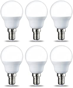 AmazonBasics Bombilla LED E14, P45, 5.5W (equivalente a 40W), Blanco Cálido- 6 unidades