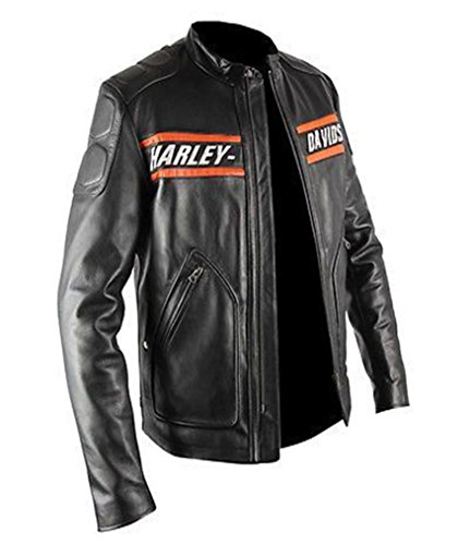 The Jacket Makers HD Motorcycle Black Leather Biker Jacket for Mens. (3XL, Genuine Lambskin Leather)