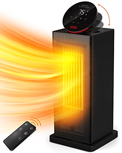 NOZZKOOP Space Heater 1500W Oscillating with Thermostat and Timer, Electric Ceramic Tower Heater with Tip-Over & Overheating Protection, Remote Control for Bedroom, Indoor Use, Office