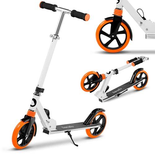 Lionelo Luca Roller Kinder Roller Erwachsene Tretroller bis 100kg Räder 200mm ShockResist Stoßdämpfer einstellbare Lenkradhöhe Bremse zusammenklappbar