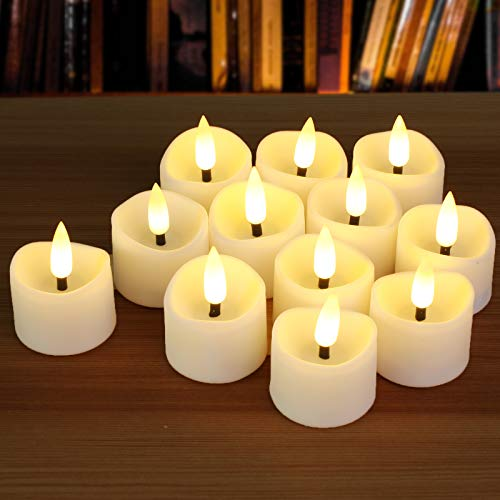 12pcs Battery Tea Lights, 3D Realistic Black Wick with 6H Timer, PChero LED Flameless Tealights Unscented Votive Candles for Wedding Table Centerpieces, Mood Lighting and Home Decor