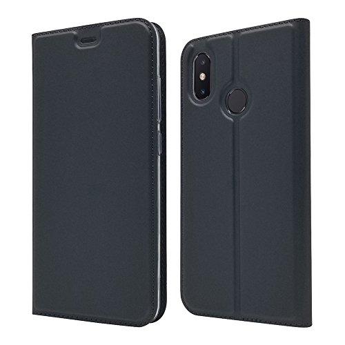 LAGUI Funda Adecuado para Xiaomi Mi 8, Ultrafina Carcasa Minimalista Tipo Libro con tapa Imantada y Ranura para Tarjeta y Soporte Horizontal, Negro