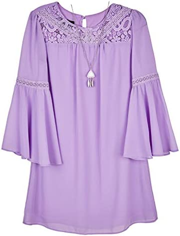 Amy Byer Girls Bell Sleeve A line Dress with Lace Lavender 12 product image