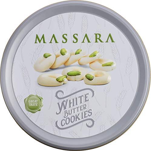 MASSARA White Butter Cookies in der Metalldose - Butterkekse mit Pistazien Kekse (400 GR)