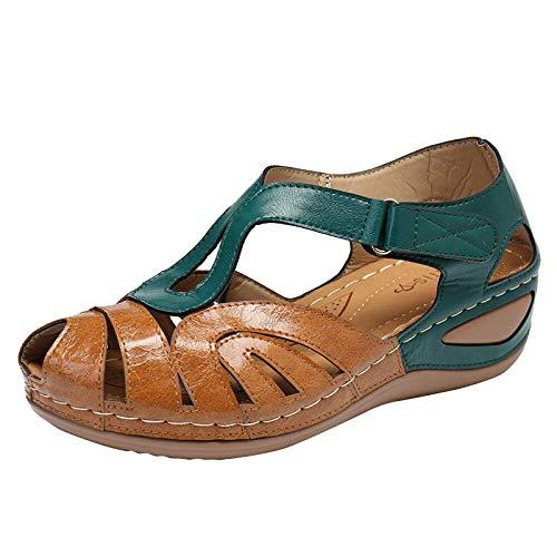 MQJ Zapatos de Mujer de Verano, Toe Redondo Casual de Las Mujeres Hallow Out Wedges Sandalias Zapatos Zapatillas Red,Verde,8Uk