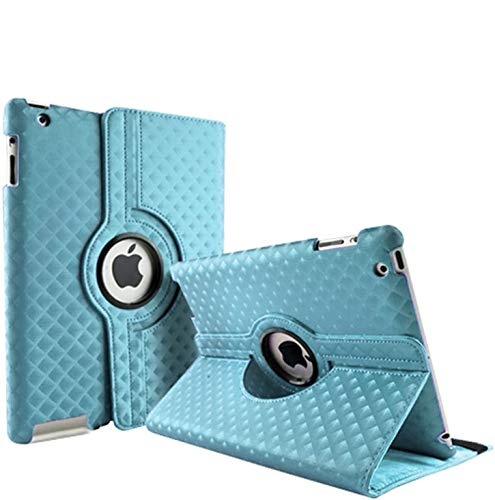 3D Diamond Rotate Case for Apple iPad Air 1 (2013) A1474 A1475 A1476 Leather 360 Degree Folding Swivel Folio Stand Cover (Light Blue)