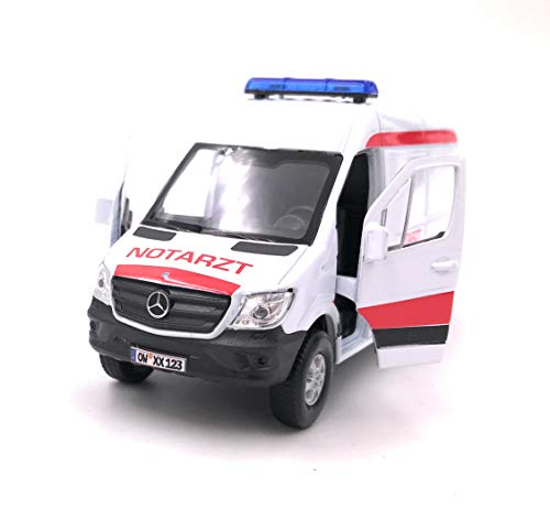 Onwomania Automóvil Modelo con matrícula Opcional. Ambulancia Sprinter. Coche Blanco. Escala 1: 34-39 (con Licencia).