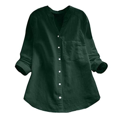 Covermason ❤️ Femmes Fille Chemisier T-Shirt à Manches Longues Rétro Coton et Lin Pas Cher Chic Blouse,Chemisier Femme Tops Blouse Pull Col Rond T Shirt en Mousseline de Soie