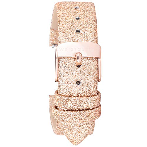 Wristology Gold Glitter Leather 18mm Watch Band - Quick Release Easy Change Mens   Womens Strap