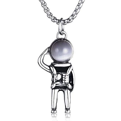 DIANDIAN Colgante de Astronauta de Acero Inoxidable Collar de Hombre Moda Moda Hombres Titanio Acero Astronauta Colgante Joyería de Moda,1
