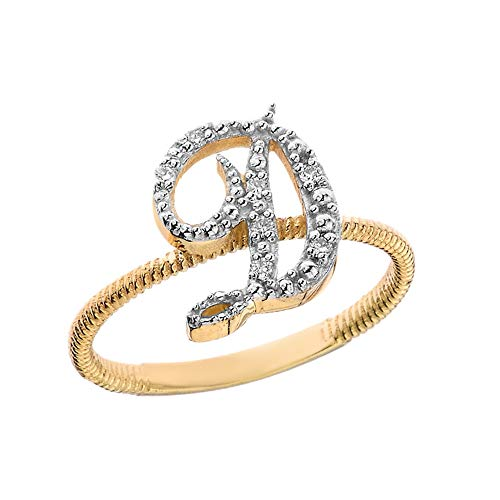 Women's 10k Yellow Gold Diamond Script Initial Letter'D' Stackable Rope Design Ring (Size 11)