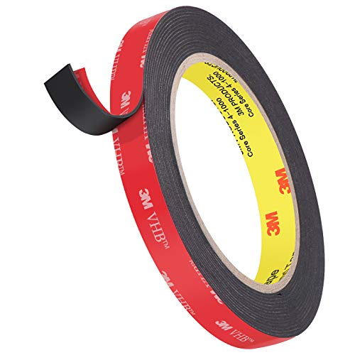 3M Double Sided Heavy Duty Mounting Tape, Easy Peel Waterproof VHB Foam Tape, 4.8m Length, 12.7mm Width,1.1mm Thickness for Car Decor,Home Decor and Office Decor