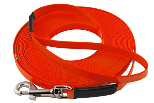 LENNIE Leichte BioThane Schleppleine, 16mm, Hunde 25-35kg, 10m lang, mit Handschlaufe, Neon-Orange, genäht